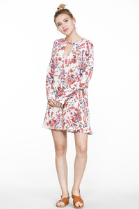 Floral Print Long Sleeve Flowy  Mini dress