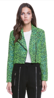 Textured Tweed Cropped Moto Jacket