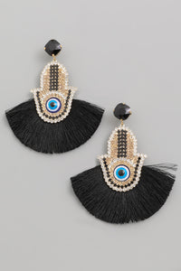 Hamsa Rhinestone & Fringe Earrings