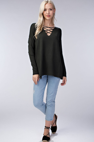 Long Sleeve Lace Up Sweater