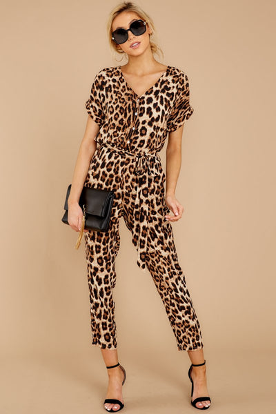 Leopard Print Short Sleeve Jumpsuit