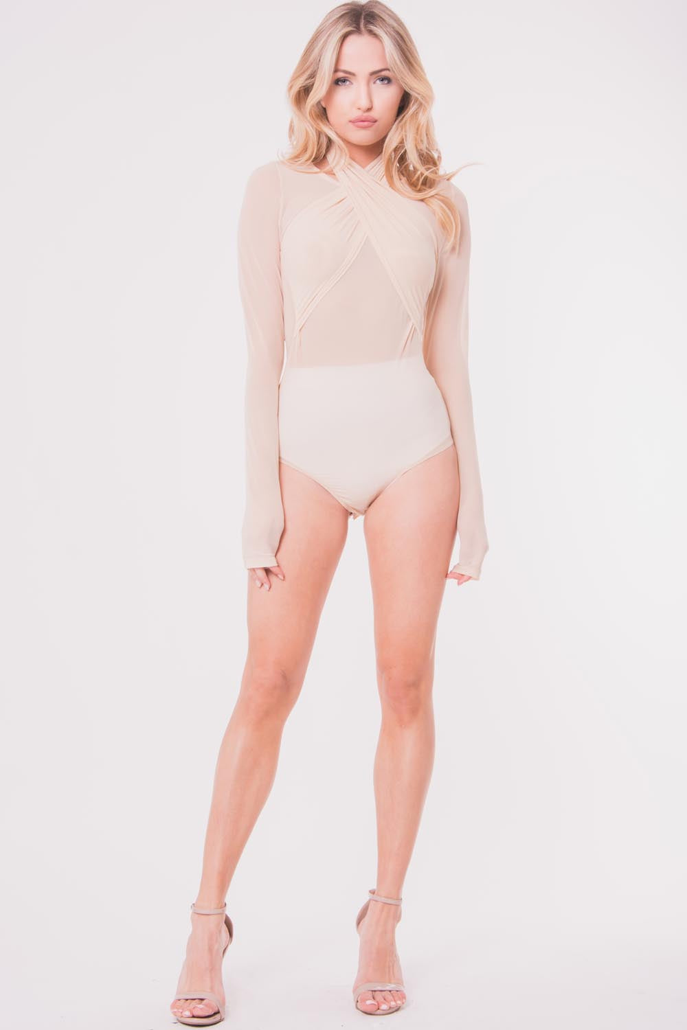 Mesh Halter Long Sleeve Bodysuit