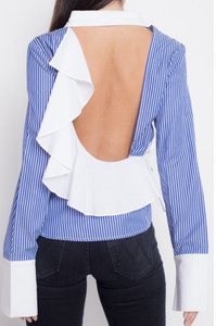 Backless Striped Button Down Top with Ruffle Detail
