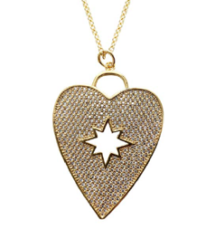 Pave Heart Pendant Necklace with Starbust Cutout