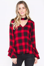 Plaid Choker Cutout Top with Bell Sleeves