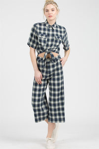 Plaid Button Down Front Knot Jumpsuit