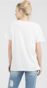 Relaxed V Neck Cotton Tee