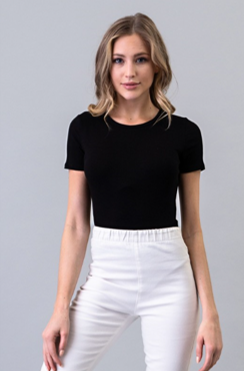 Ribbed Round Neck Short Sleeve Bodysuit