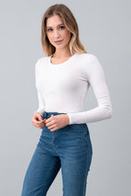 Ribbed Crew Neck Long Sleeve Bodysuit