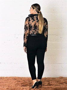 Sheer & Lace Blouse with Neck Tie