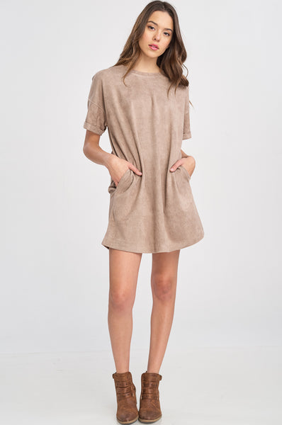 Vegan Suede Tee Shirt Dress