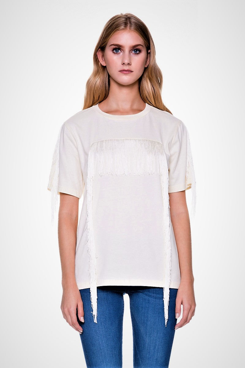 Retro Short Sleeve Fringe Tee
