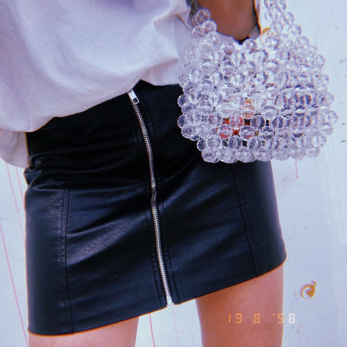Clear Beaded Mini Bag