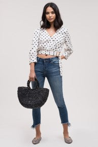 Belted Polka Dot Crop Top