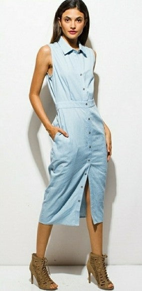 Chambray Button Midi Dress with Knot Back