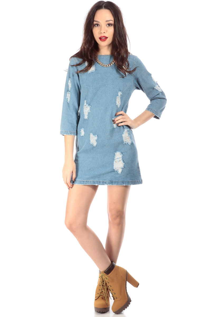 Distressed Denim Shift Dress