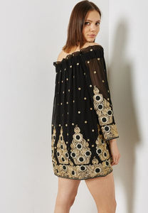 Metallic Embroidered Off the Shoulder Dress