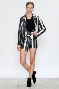 Stripped Vegan Leather Moto Jacket