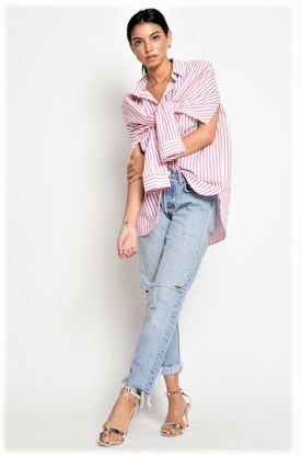 Striped Front Tie Button Down Shirt