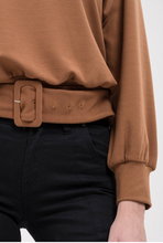 Belted Crew Neck Sweater Top