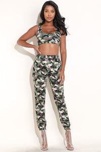 2 Piece Camo Bra & Jogger Set
