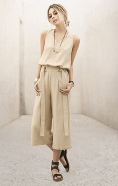 Natural Belted Jumpsuit