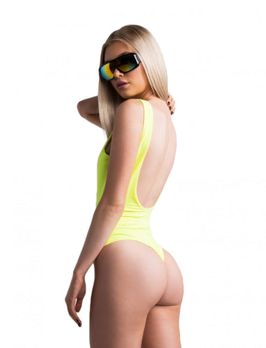 Neon Scoop Neck Bodysuit with Low Back