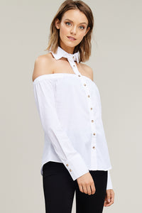 Off the Shoulder Button Down with Collar