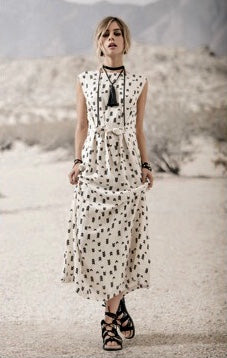 Tie Front Printed A Line Midi Dress