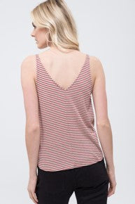 V Neck Striped Tank with Front Knot