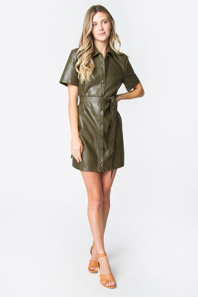Short Sleeve Vegan Leather Button Down Dress