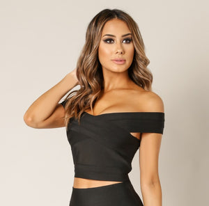 Bandage & Fur Crop Top & Mini Skirt Set