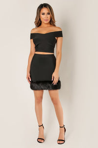 Bandage Mini Skirt with Fur Detail