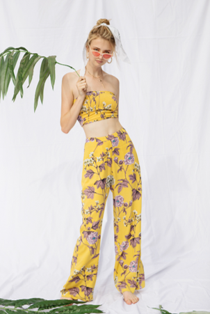 Floral Print Tube Top & Pant Set