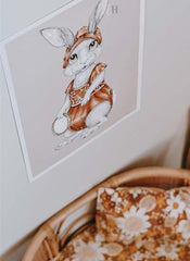 Vintage Bohemian Miss Paisley Bunny Rabbit art by Australian Artist Elyse Howlett. Styled by Margaux from TheFrenchFolk and coutesy of Dreamy Spaces Magazine.
