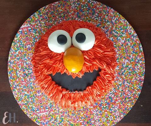 1st birthday party Elmo Cake Coles Mudcake Hack