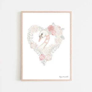 Belle Swan Floral Heart- White Background/Pink Flowers