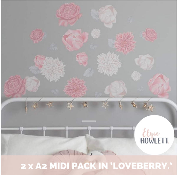 """Loveberry"" Pink Flower Fabric Wall Decals - Multiple sizes"
