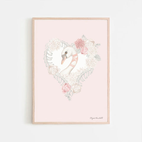 Belle Swan Floral Heart- Pink Background