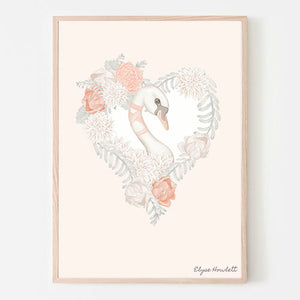 Belle Swan Floral Heart- Peach Background