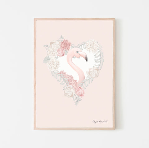 Florence Flamingo Floral Heart - Pink Background