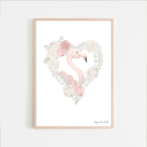 Florence Flamingo Floral Heart - White Background