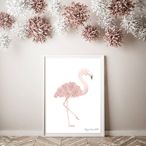 Florence Flamingo Art Print- Full Length