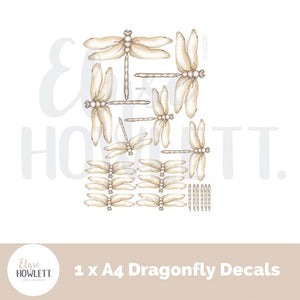 Magical Dragonfly Wall Decals - A4 pack