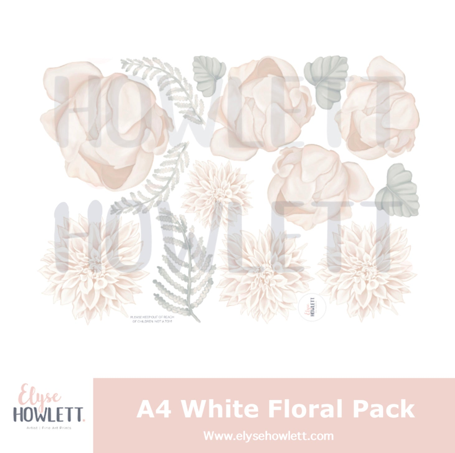 A4 White flower decal pack