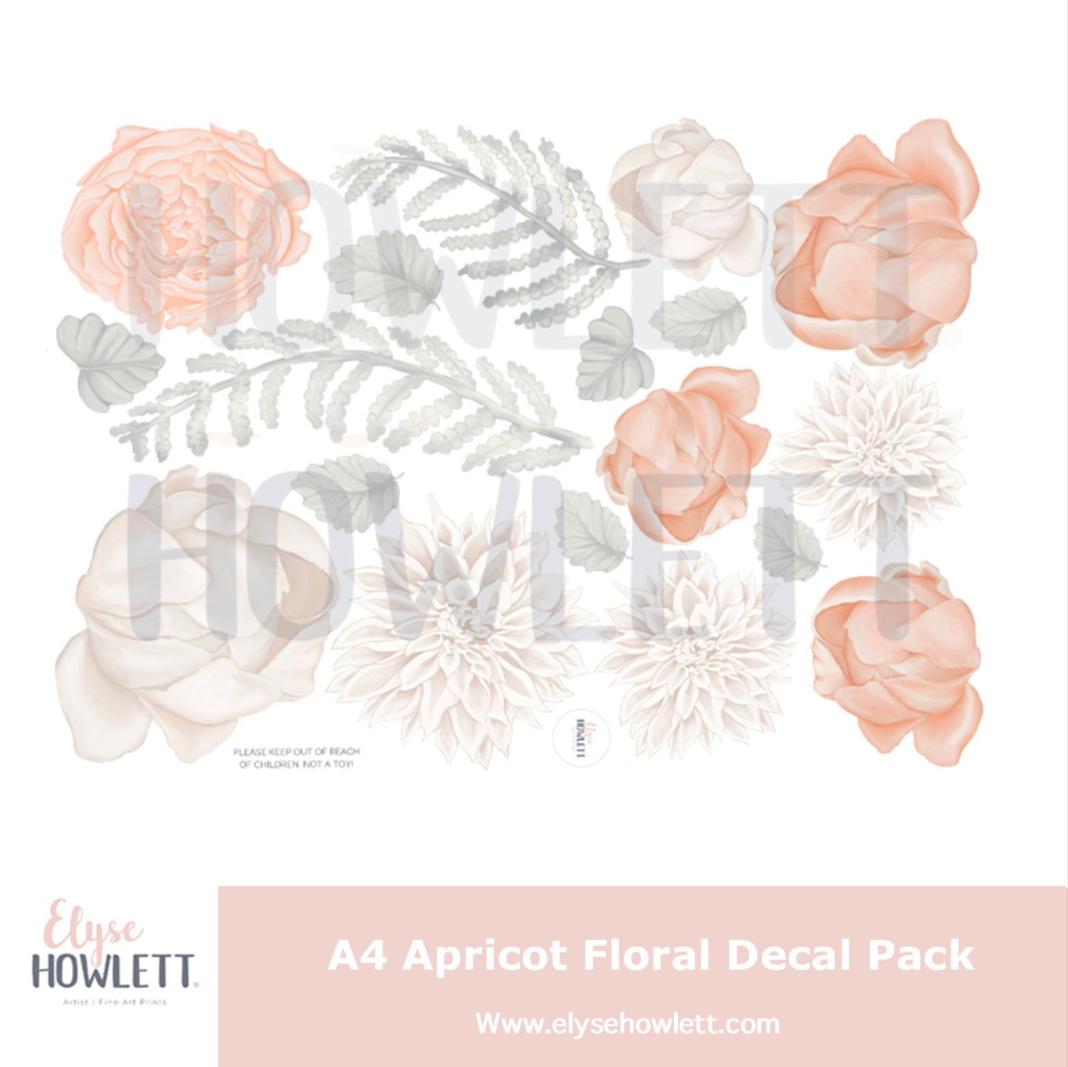 A4 Apricot flower decal pack