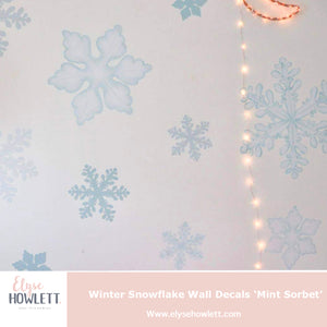 Winter Snowflake Wall Decals 'Mint Sorbet'- Multiple sizes