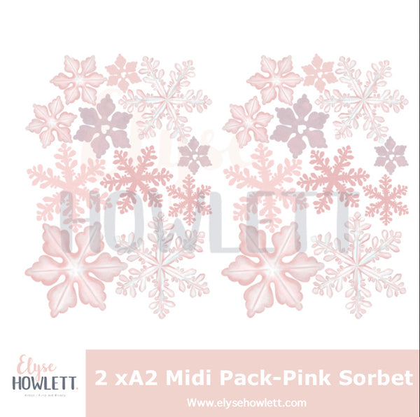 Winter Snowflake Wall Decals 'Pink Sorbet'- Multiple sizes