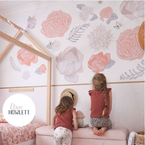 Peachy - Flower Fabric Wall Decals - Multiple sizes