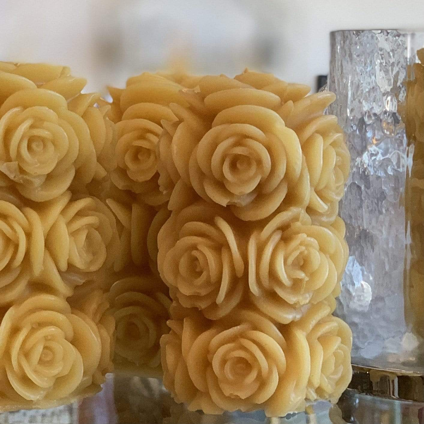 Beeswax Rose Pillar Candle - PORCH